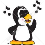 Clip Art Illustration of a Penguin Singing