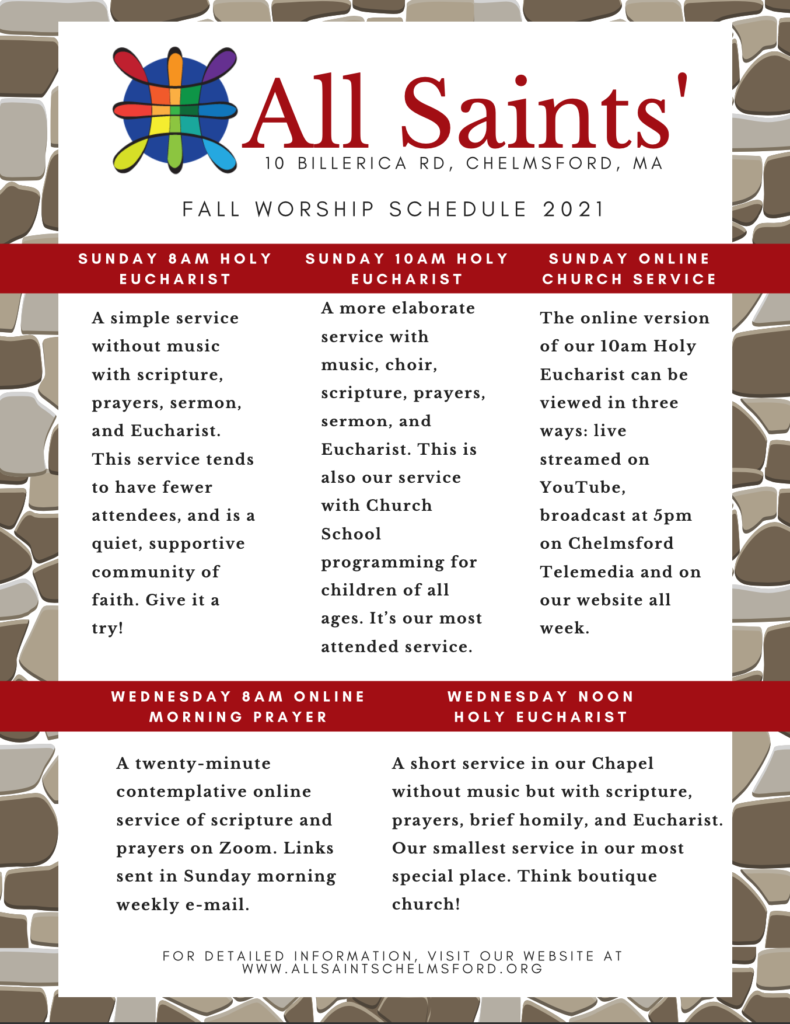 All Saints' Chelmsford 2021 Fall Service Schedule